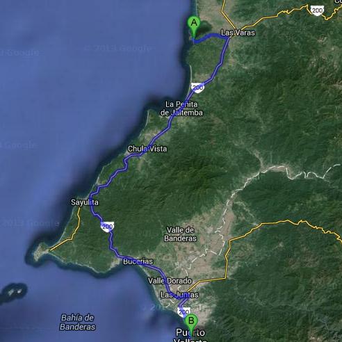 trajet pour chacala depuis puerto vallarta