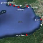répartition des spots de surf sur la baie de puerto vallarta