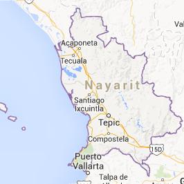 carte du nayarit pour des vacances au Mexique